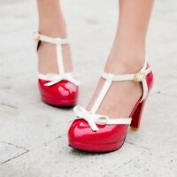 Womens Cute Bow Stilettos Sweet Pump Leather Retro T Strap Bar Shoes Size 2-8.5