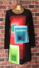 DESIGUAL Sheath Dress Long Sleeves Back Zip Stretch Geometric Front Print Size S