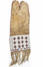 1880s NATIVE AMERICAN ARAPAHO INDIAN BEAD DECORATED TOBACCO / PIPE BAG BEADED