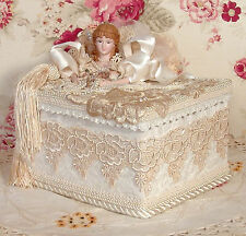 Victorian Tea Stained Hand Decorated - Trinket/  Hat Box- Vintage Style VHR -