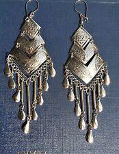 BohoCoho Quirky Boho Hippy Gypsy funky '70s style BIG silver fringe earrings
