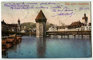 CPA Suisse Centrale Lucerne Luzern Kapellbrücke Pont de la chapelle