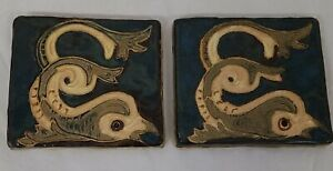 "2 Fish Glazed Mosaic Pottery Clay Decorative Wall Tiles 3 5/8"" X 4"" Blue"