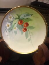 "HEINRICH H&C Co SELB BAVARIA 5 5/8"" PLATE HEAVY GOLD TRIM CHERRIES ARTIST SIGNED"