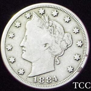 1884 LIBERTY NICKEL 5c V ~ FANTASTIC COIN ~ SCARCE DATE ~ TCC