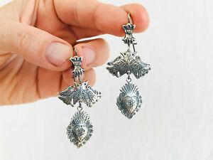 Oaxaca Silver Earrings. Sacred Heart. Mexico. Frida Kahlo