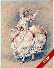 THE FRENCH WOMAN DANCER 18TH CENTURY CHALK & INK PAINTING ART REAL CANVAS PRINT