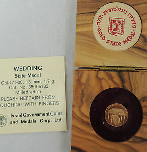 "1978 Israel  ""WEDDING""  State Medal 13mm 1.7g Gold ORIGINAL OLIVE WOOD BOX a COA"