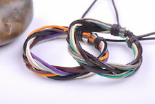 2PCS Surfer Colorful Handmade Hemp Leather Braided Unisex Bracelet Bangle Cuff D