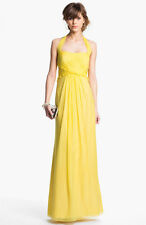 NEW JS Boutique Ruffled Silk Chiffon Halter DRESS GOWN SIZE 2 YELLOW
