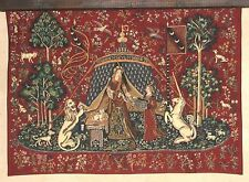 "NEW A MON SEUL DESIR CLUNY 47"" TAPESTRY WALL HANGING IN RED"