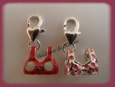 LOT 2 CHARMS BRELOQUE A FERMOIR METAL ARGENTE MAILLOTS ROUGE / ROSE - BIJOUX AE4