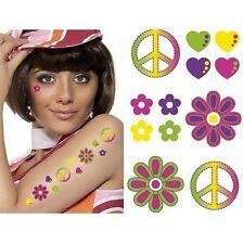 Hippie Hippy Tattoos Temporary Stick-on 60's 70's Fancy Dress CND Flower Hearts