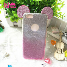 Hot Cute Mouse Ears Gradient Glitter Soft TPU Bling Case Cover For Various Phone