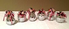 Vintage Mirrored Xmas Ornaments glass Round ball & Pear Floral (6) Handmade