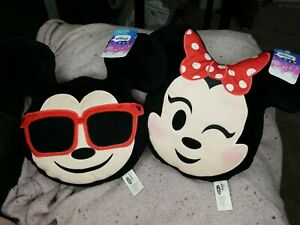 """SET OF TWO Mickey & Minnie Mouse Disney Emoji Pillows 11""""tall 13""""wide at ears°o°"""