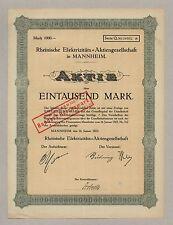 Rheinische Elektrizitäts-AG – MANNHEIM – Aktie, 1.000 Mark, 16.01.1923
