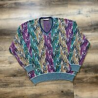 VTG St Croix Knit Crewneck Sweater Mens Large Multicolor Coogi Style USA