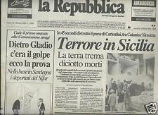 LA REPUBBLICA 14 DICEMBRE 1990 TERREMOTO SICILIA CARLENTINI NOTO BAROCCA