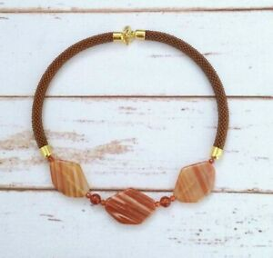 Agate Necklace - Brown Stone Necklace - Bead Crochet Choker- Brown Stone Jewelry