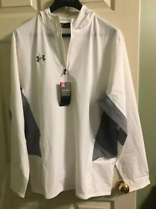 Under Armour Storm Men's Squad Woven 1/4 Zip XL Pullover White/Grey 1293902 100