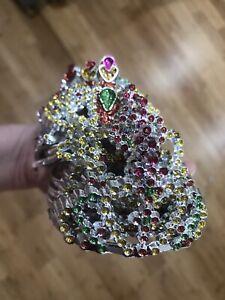 12 Plastic Silver Princess Queen Tiara Crown Comb Costume Birthday Party Favor