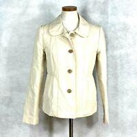 Womens J Crew Beige Casual Cotton Poly Nylon All Weather Jacket Coat sz 6