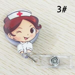 Cartoon Retractable Badge Reel Nurse Pull Buckle Holder Clip Casual ID Card US