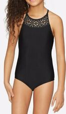 Nwt Justice Girl's Laser Cut High Neck One Piece Swimsuit Swim 6 7 8 10 12 14