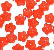 G4199f Orange 7mm Flower Bead Caps Czech Pressed Glass 50/pkg