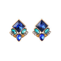 Earrings Nails Studs Golden Floral Navy Blue Green Retro DD11