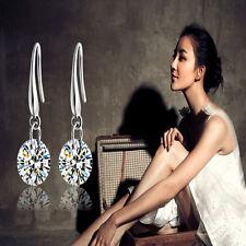 Moda 1Pair Pendientes Blanco Aretes Earrings Cristal Joyería Mujer Regalo