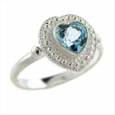925 Silver Bali Bead Blue Topaz Heart Ring Size 10
