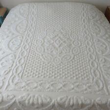 "Vintage Chenille Medallion Popcorn 100% Cotton Bedspread Ivory KING 97"" x 113"""