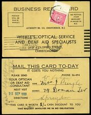 POSTAGE DUE NEW ZEALAND 1939 on BUSINESS REPLY CARD PAID 1d OPTICIAN WHALES