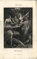 Stampa antica WIELAND Musarion musica cetra 1860 Old antique print Alte stich