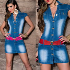 Jeanskleid Jeans Minikleid Overall Hemdkleid Rock Einteiler*XS-XL/34 36 38 40 42
