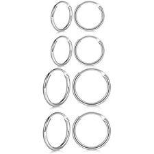 Hoop Earrings Set Hypoallergenic 14K Lip 4 Pairs Sterling Silver Cartilage Small