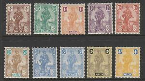 Malta 1922 Short set to 4d 10v. SG 123-132 Mint.