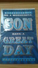 Son birthday card, wordy, blue with silver foiling, 3D, 23 x 16 cm