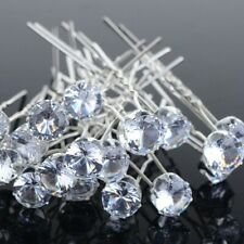 10Pcs/Lots Wedding Bridal Bridesmaid Round Crystal Rhinestone Hair Pins Clips