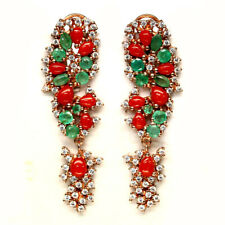 NATURAL GREEN EMERALD, CORAL & CZ STERLING 925 SILVER EARRINGS