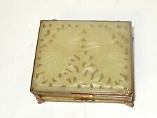 CHINESE SIX PANEL FLORAL CARVED TOP WHITE JADE HUMIDOR JAR BOX #5