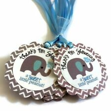 Thanks for Showering Elephant Favor Tags for Baby Boy Shower - Set of 12