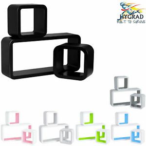 Set of 3 Cube Rectangle Wall Mounted Floating Shelves Shelf Hanging Book Display