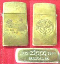 Zippo Cigarette Lighter 1932 1989 Slim Brass USS John F Kennedy CV 67