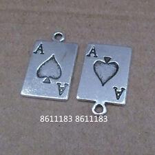 15pc Tibetan Silver Poker cards Charms Beads Jewellery Beading Pendant GP689