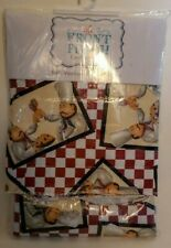 "New Vinyl Tablecloth 52"" x 90"" Oblong Red Cream checkered FAT CHEFS Cookouts BBQ"