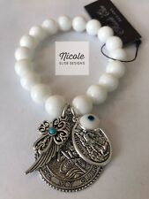 White Alabaster bracelet St Christopher, St Michael, Cross & a Crystal Evil Eye.