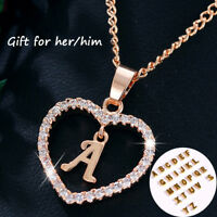EE_ Gold Silver Plated Initial Alphabet Letter A-S Heart Pendant Chain Necklace